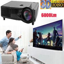 Full HD 1080P 6000 Lumens LED LCD 3D VGA HDMI TV Home Theater Projector Cinema U