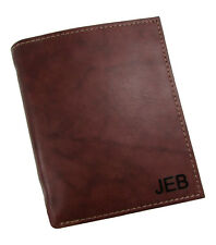 New Buxton Personalized Monogram Leather Credit Card Folio Wallet, Brown