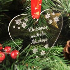 Personalised Christmas Tree Decoration Engraved Bauble Gift - Snowflake Heart
