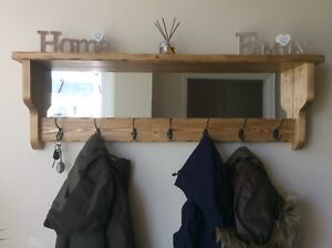 *Beautiful quality handmade rustic wooden coat hook rack with mirror and shelf*