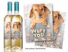 """Confezione di due """"wuff è"""" BASSOTTO Salsiccia Cane bottiglia di vino etichette Regalo Compleanno"""
