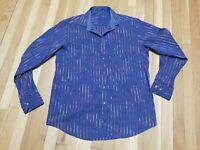 Mens Bugatchi Uomo Long Sleeved Button Up . Rainbow stripes! Shirt Sz L