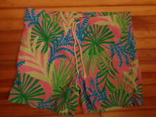 LILLY PULITZER Via Palm Beach tropical palm swim trunks men's size L
