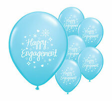 "10 x HAPPY ENGAGEMENT  LIGHT BLUE 12"" HELIUM QUALITY PEARLISED BALLOONS (PA)"
