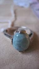 "Ring/Larimar Cabachon (1/2"") in .925 Silver Setting, Sz 6"
