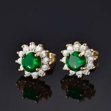 24 K Yellow Gold Filled Gorgeous Green Emerald & Sapphire Stud Earrings