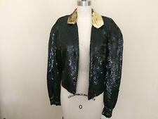 VINTAGE Sequin jacket Size M 8-10 Gold Black Beaded 1980's Shoulder Pads Retro