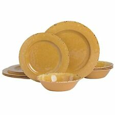 New listing Gibson Home Mauna Round Heavyweight Melamine Dinnerware Set Service for 4 12p...