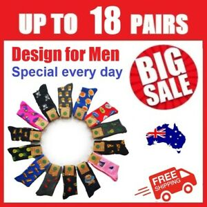 Men Cotton Socks Funky Colorful Fashion Sox Novelty Crew Casual Party AU Stock