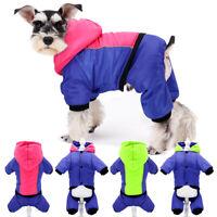 Wasserdicht Hundemantel Hundejacke Kapuz Hundeoverall Winterjacke Reflektierend