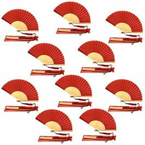 Pack of 10 Silk Fabric Fan with a Tassel Grade A Bamboo Ribs Party Favour Handhe