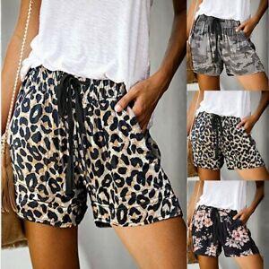 Fashion Women Comfy Drawstring Casual Print Elastic Waist Pocket Shorts S-XXL US