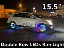 "JHB x 4PCS SET 15.5"" IP68 Dual Row Color Chasing illuminated Wheel Rings Lights"