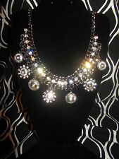 SIMPLY VERA WANG NWT $38 pewter womens Necklace choker with clear stones disco