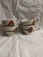 Red Wing LUTE SONG pattern coffee tea cup, brown lute decoration, set of 4