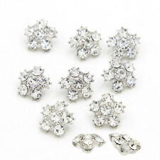 8 Pcs Silver Rhinestone Wedding Buttons Dress DIY Shank Buttons Embellishment