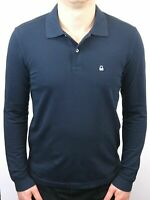 United Colors Of Benetton Blue Long Sleeve Pique Polo Shirt Slim Fit - XL