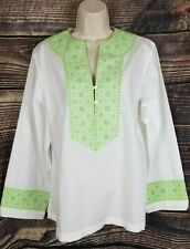 Lands End White Popover Shirt Tunic Green Embroidery Womens M 10-12 Cotton