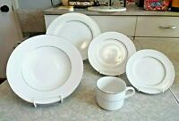 "NEW GIBSON EVERYDAY 20 PC. DINNERWARE SET in the ""BLACK TIE"" PLATINUM PATTERN"