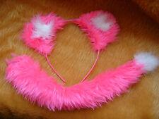 Bright Pink Lion Cub Ears & Tail Fancy Dress Animal Costume Hen Night Dress Up