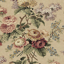 """Canvas Heavy Cotton Upholstery Curtain Covering Fabric Oriental Floral Brown 44"""""""