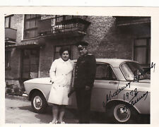 1972 Military man General with wife & car Red Army old Russian Soviet photo
