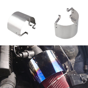 """Car 2.5 '' -5 """"Neck Cone Filter Air Intake Heat Shield Stainless Steel Chrome"""