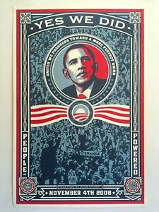 """RARE SHEPARD FAIREY """"YES WE DID"""" 2008 OBAMA ELECTION ORIGINAL LITHO PRINT POSTER"""