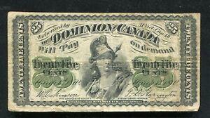 "1870 25 TWENTY FIVE CENTS DOMINION OF CANADA ""SHINPLASTER"" VERY FINE (B)"