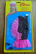 1987 Chris Fashion Doll Shiny Black Pink Dancing Dress Shoes Outfit Barbie/Maxie