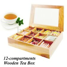 Large Wooden Tea Box Tea Bag Storage Container Nature Pinewood 12 Compartments