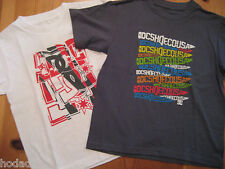 NEW 2 DC Shoes brand BOYS T-SHIRTS  SIZE SMALL 4  LOGO PRINT WHITE RED AND GRAY