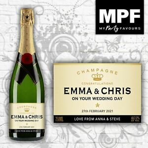 Personalised Wedding Champagne Bottle Label - 4 Styles Available