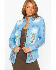 Tasha Polizzi Women's Billie Shirt Denim Blue Cotton Size S NWT
