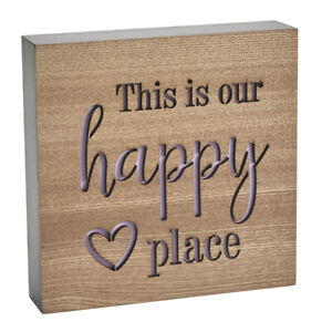 This is our happy place wooden block sign