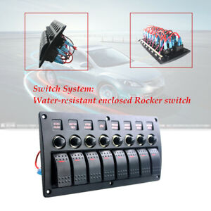 8 Gang Rocker Switch Panel Car Boat Circuit Led Breaker Overload protection
