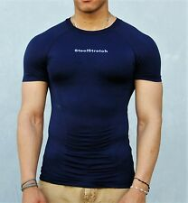 Steelstretch Navy Short Sleeve Compression Athletic Muscle MMA Shirt Large