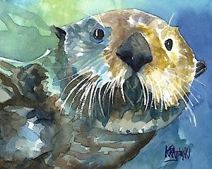 Sea Otter Art Print from Painting | Seascape gifts, Poster, Home Decor 8x10