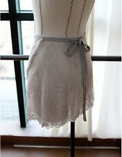 new Ballet Dance Wrap Skirt Highquality Gray S/Msize Elegant double Floral lace
