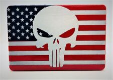 Punisher American Flag, Billet Aluminum Trailer Hitch plug Cover, 4x6 Red/Blue
