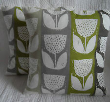 "16"" Cushion Cover Lime Green Grey Cream Tulip Stripe Print Handmade New 40cm"