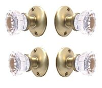 Two Sets Glass Door Knobs for French Doors-Universal Dummy/Faux Antique Brass