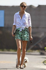 ZARA NEW GREEN HIGH-WAIST PRINTED SHORTS CELEBRITY SIZE: XS  Ref. 2635/644