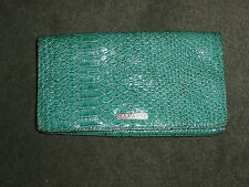 New listing Women's Aqua Blue Mary Kay Reptile Texture Magnet Close Clutch Purse Make-Up Bag