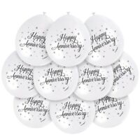 "10 X HAPPY ANNIVERSARY 9"" LATEX BALLOONS WHITE AIR FILL PARTY DECORATION"