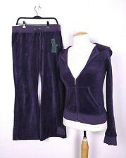 Juicy Couture Women's Dark Purple Embellished 2 Pc Velour Sweatsuit Small Hemmed
