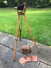 Antique mahogany plate camera with oak tripod and case