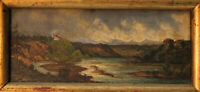 Ölgemälde Landschaft Romantiker Lupenmalerei 6x15 19. Jh.
