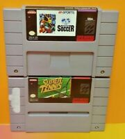 Fifa Internat. Soccer + Super Tennis - Super Nintendo SNES Authentic Game Tested