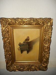 Old oil painting,{ Beautiful singing bird, is signed, great frame! }.